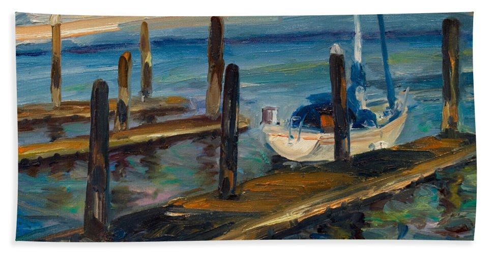 Marina Bath Towel featuring the painting China Basin Docks by Rick Nederlof