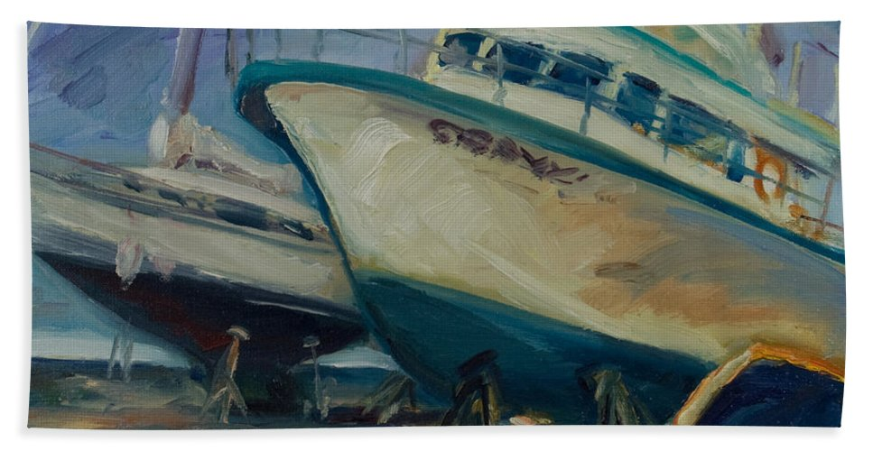 Boats Bath Towel featuring the painting China Basin by Rick Nederlof