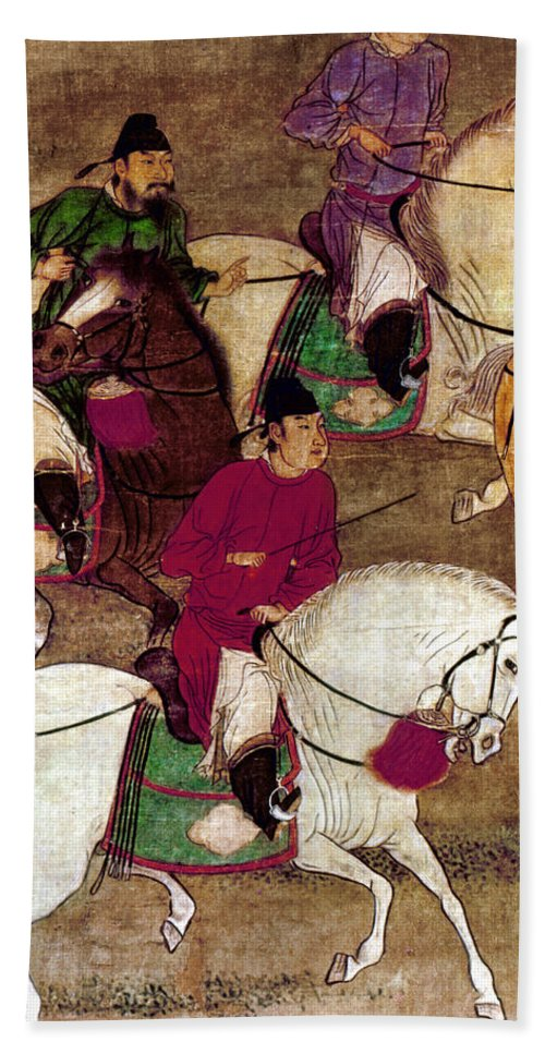 10th Century Bath Sheet featuring the photograph China: Horsemen by Granger