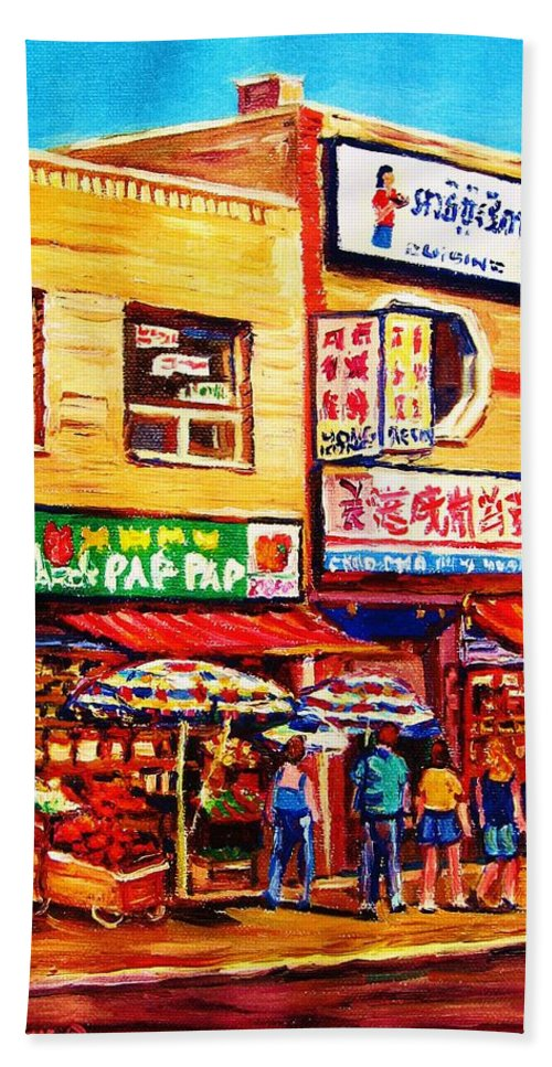 Montreal Hand Towel featuring the painting Chinatown Markets by Carole Spandau