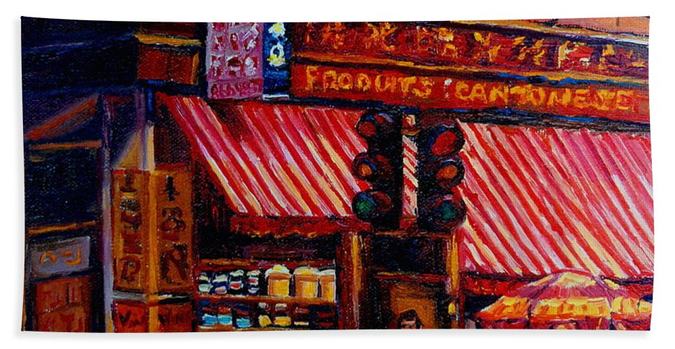 Chinatown Bath Towel featuring the painting Chinatown Montreal by Carole Spandau