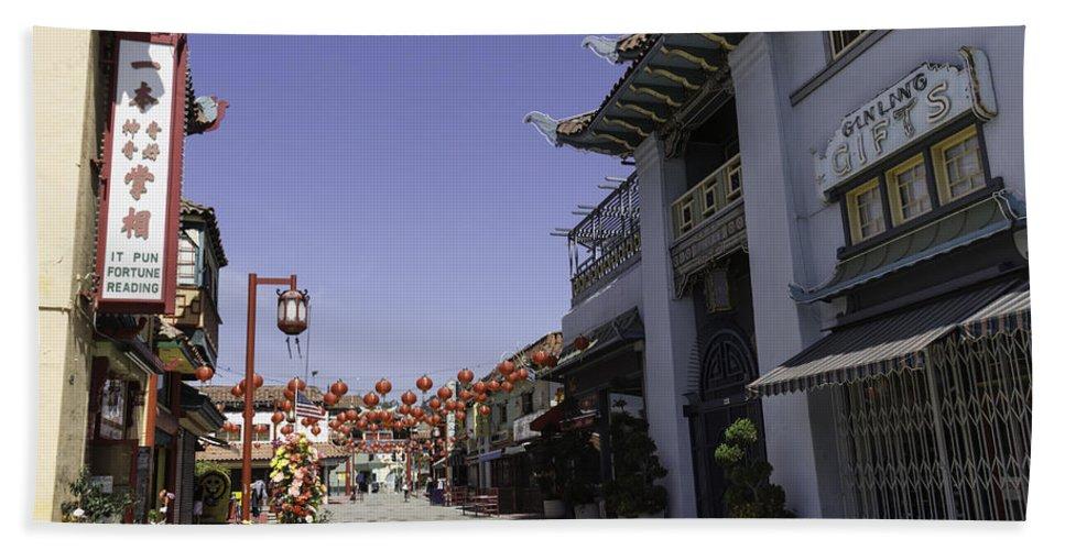 Teresa A Mucha Hand Towel featuring the photograph Chinatown Shops by Teresa Mucha
