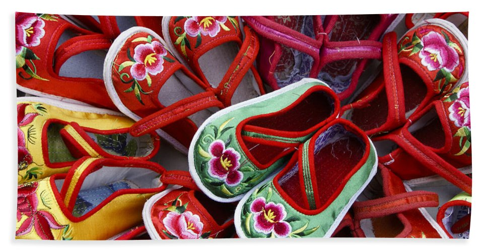 Asia Hand Towel featuring the photograph Chinese Baby Shoes by Michele Burgess