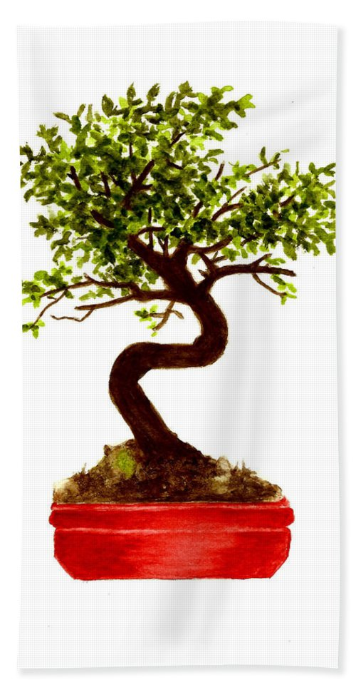 Tree Hand Towel featuring the painting Chinese Elm Bonsai Tree by Michael Vigliotti