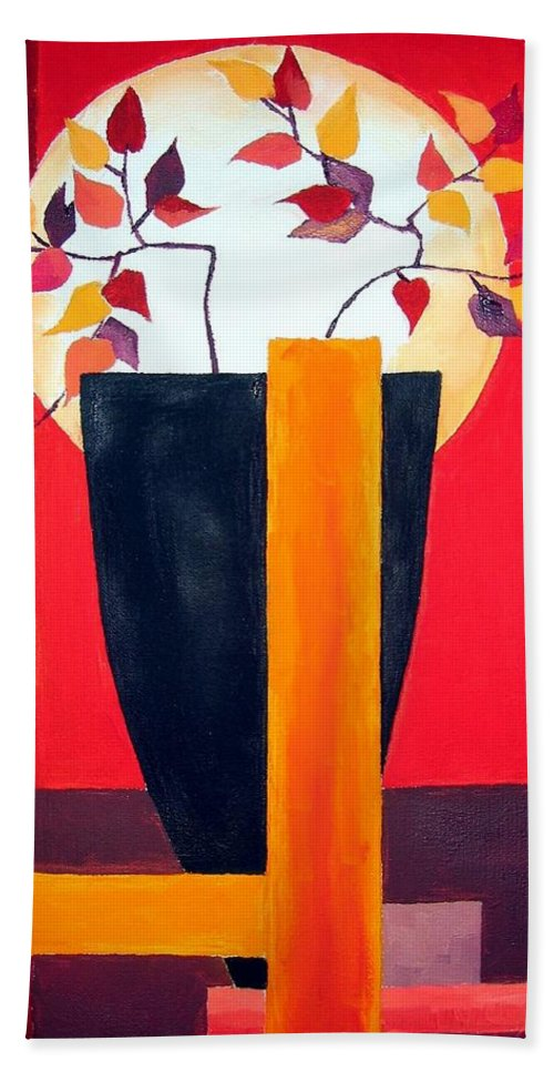 Flower Bath Towel featuring the painting Chinese Flower On Vase by Alban Dizdari