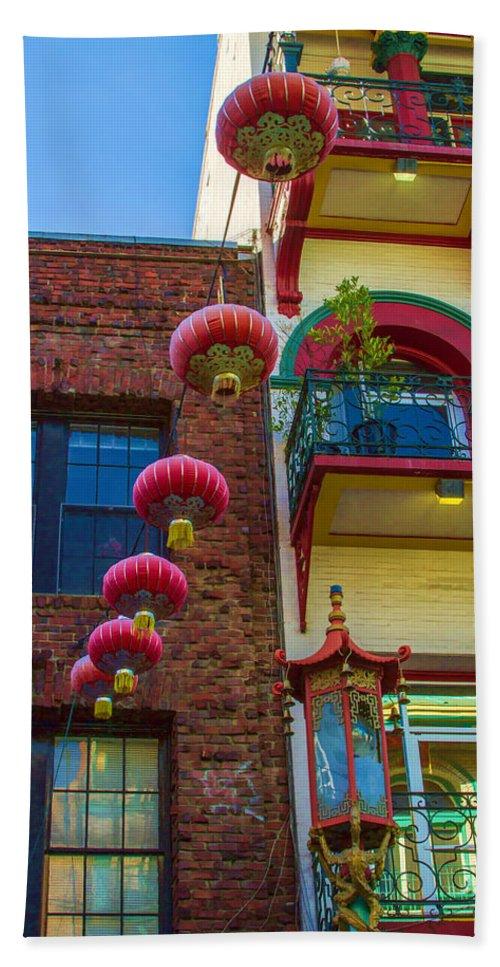 Bonnie Follett Bath Towel featuring the photograph Chinese Lanterns Over Grant Street by Bonnie Follett