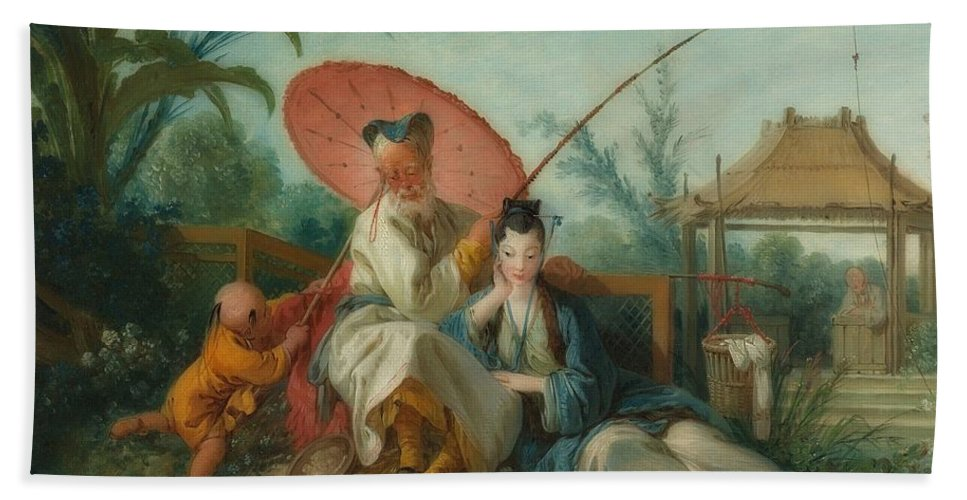 Painting Bath Towel featuring the painting Chinese Motif by Francois Boucher