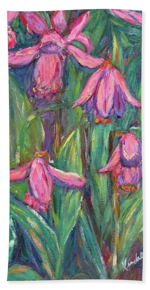 Floral Bath Towel featuring the painting Chinese Orchids by Kendall Kessler