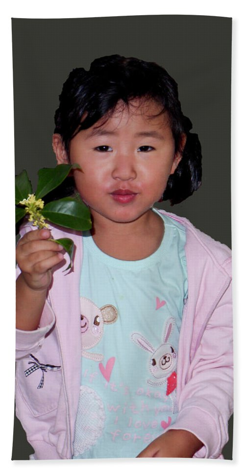 Portrait Hand Towel featuring the photograph Chinese Orphan Girl by Stan Roban