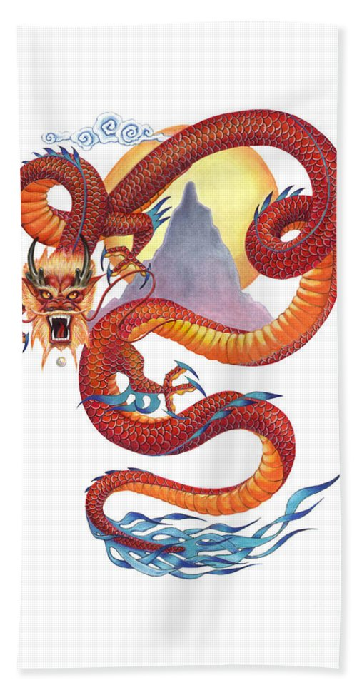 Dragon Bath Towel featuring the painting Chinese Red Dragon by Melissa A Benson