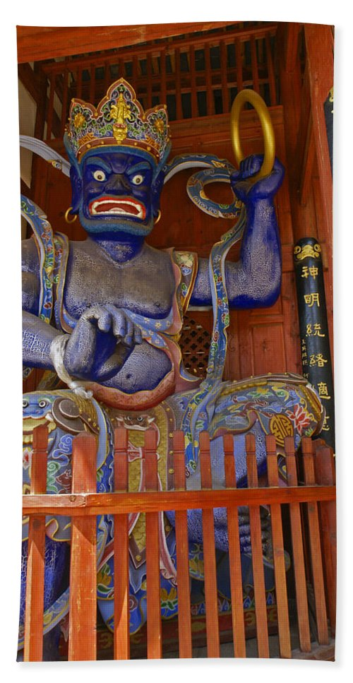 Asia Hand Towel featuring the photograph Chinese Temple Guardian by Michele Burgess