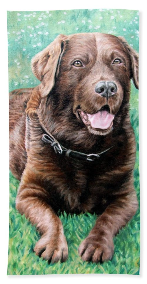 Dog Hand Towel featuring the painting Choco Labrador by Nicole Zeug