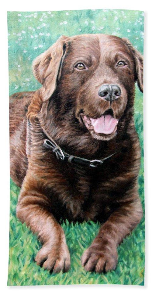 Dog Bath Sheet featuring the painting Choco Labrador by Nicole Zeug