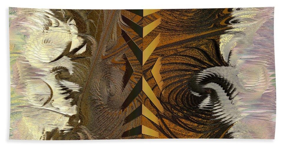 Abstract Bath Sheet featuring the digital art Chocolate Center by Deborah Benoit