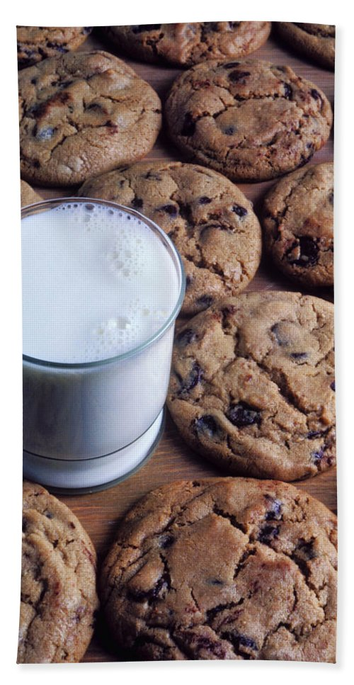 Chocolate Chip Bath Sheet featuring the photograph Chocolate Chip Cookies And Glass Of Milk by Garry Gay