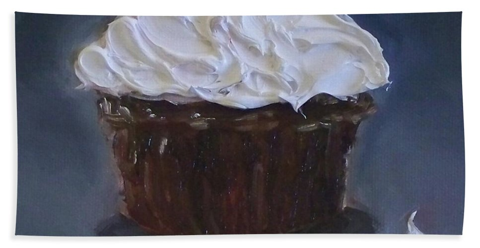 Chocolate Cupcake Hand Towel featuring the painting Chocolate Cupcake With A Cherry by Kristine Kainer