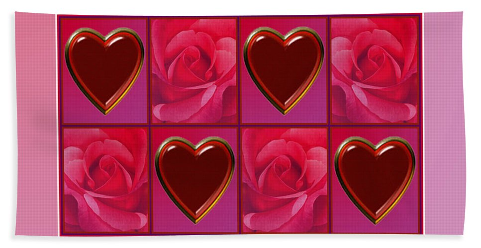 Valentine Card Bath Sheet featuring the digital art Chocolate Hearts And Roses by Melissa A Benson