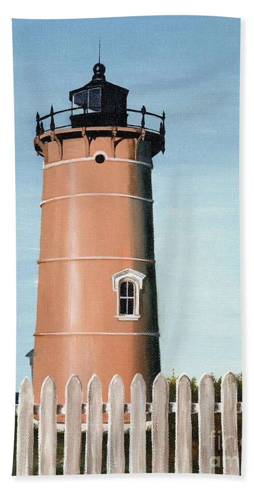 Lighthouse Bath Sheet featuring the painting Chocolate Lighthouse by Mary Rogers