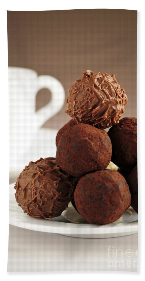 Chocolate Hand Towel featuring the photograph Chocolate Truffles And Coffee by Elena Elisseeva