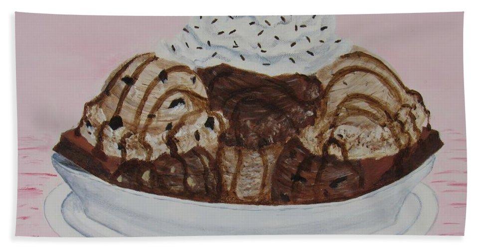 Brownie Bath Towel featuring the painting Chocolatey Brownie Sundae by Nancy Nale