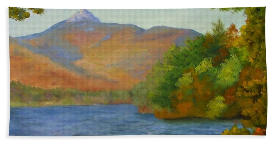 Mount Chocorua And Chocorua Lake Bath Towel featuring the painting Chocorua by Sharon E Allen