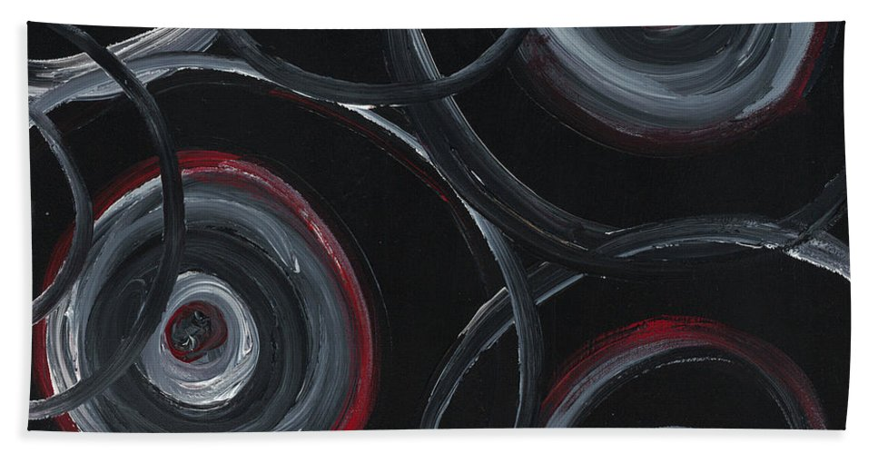 Circles Bath Towel featuring the painting Choices In Black by Nadine Rippelmeyer
