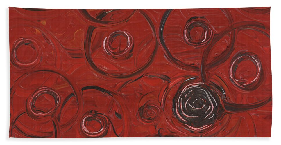 Red Hand Towel featuring the painting Choices In Red by Nadine Rippelmeyer