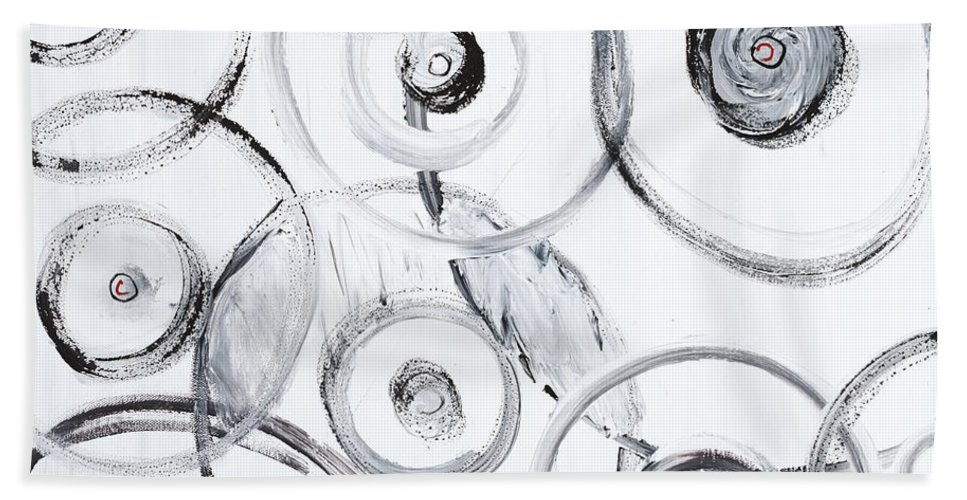 Circles Bath Towel featuring the painting Choices In White by Nadine Rippelmeyer