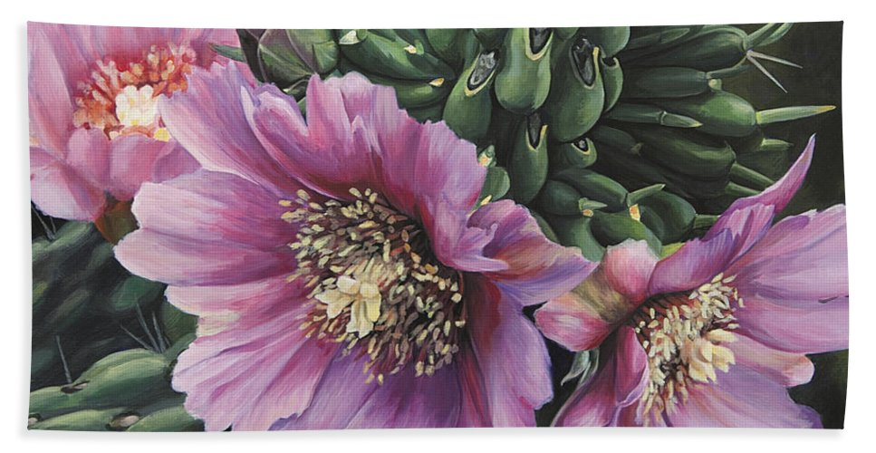 Cacti Hand Towel featuring the painting Cholla Flowers by Rebecca Zook