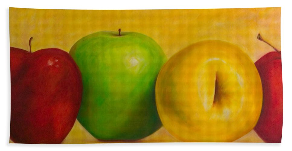 Still Life Hand Towel featuring the painting Chorus Line by Shannon Grissom