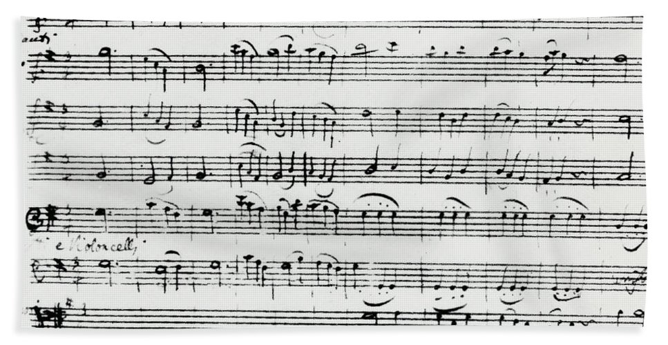 Mozart Hand Towel featuring the drawing Chorus Of Shepherds, Handwritten Score Of The Opera Ascanio In Alba by Wolfgang Amadeus Mozart