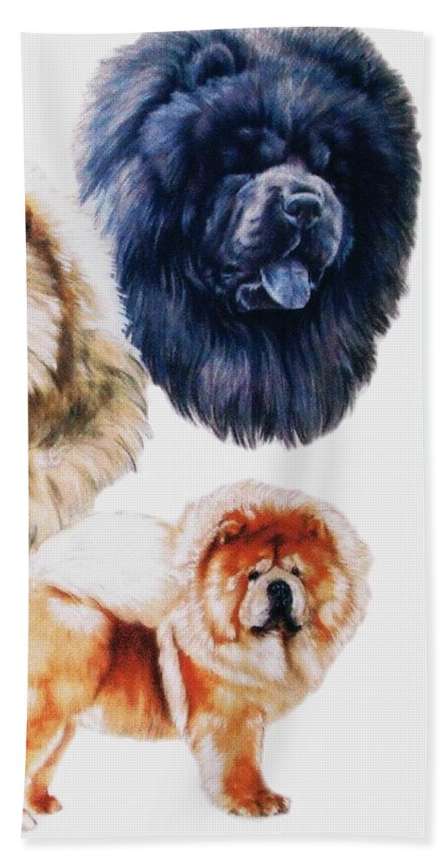 Non-sporting Hand Towel featuring the mixed media Chow Chow by Barbara Keith