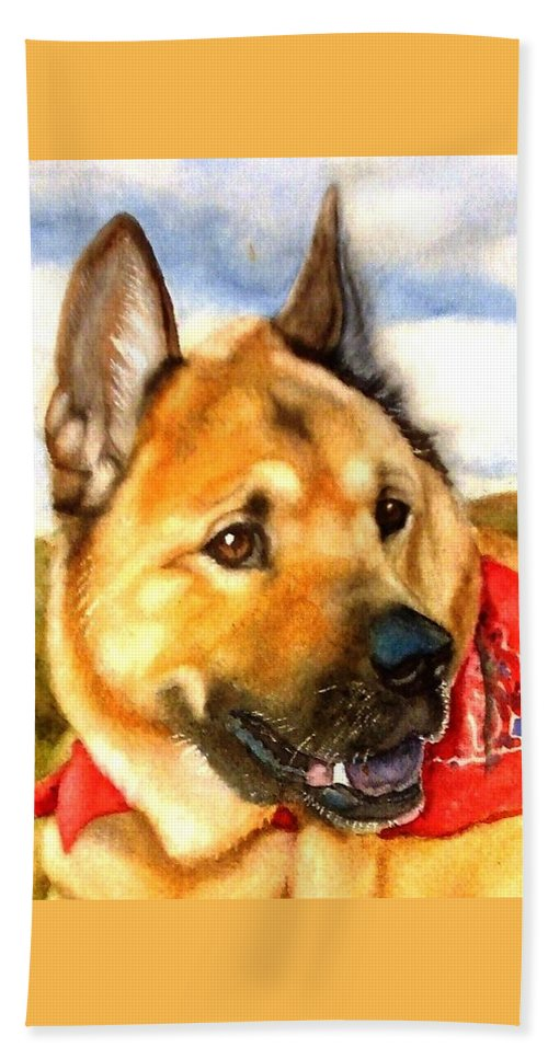 Chow Hand Towel featuring the painting Chow Shepherd Mix by Marilyn Jacobson