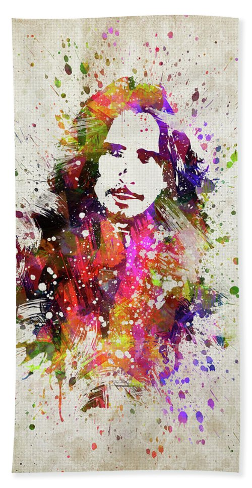 Chris Cornell Hand Towel featuring the digital art Chris Cornell In Color by Aged Pixel