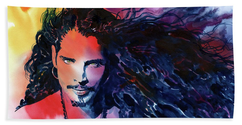 Soundgarden Bath Towel featuring the painting Chris Cornell by Ken Meyer jr