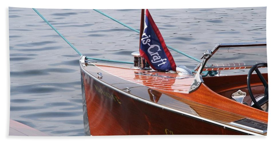 Chris Craft Hand Towel featuring the photograph Chris Craft Runabout by Neil Zimmerman