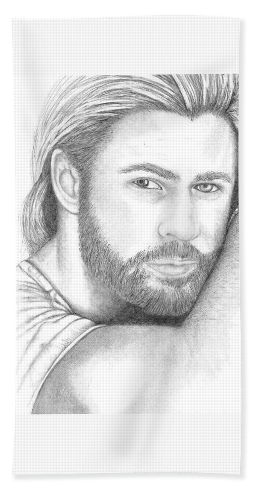 Portrait Bath Sheet featuring the drawing Chris Hemsworth by Jennifer Campbell Brewer