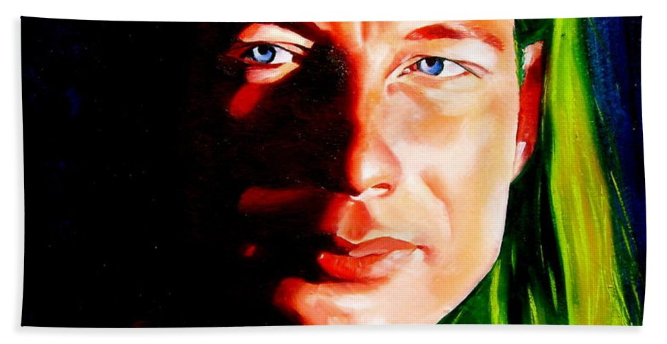 Portraiture Art Hand Towel featuring the painting Chris by Laura Pierre-Louis