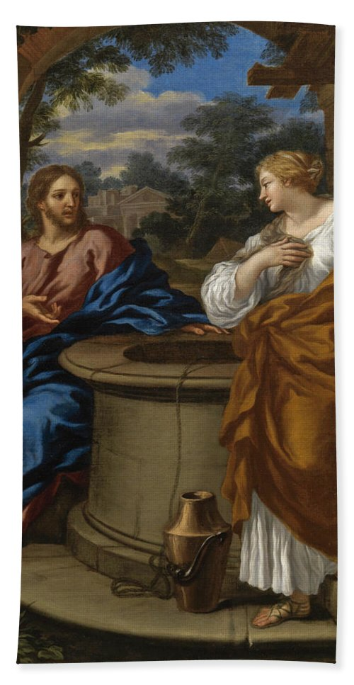 Giuseppe Nicola Nasini Bath Sheet featuring the painting Christ And The Woman Of Samaria by Giuseppe Nicola Nasini