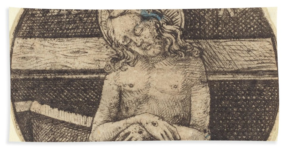 Hand Towel featuring the drawing Christ As The Man Of Sorrows by Israhel Van Meckenem
