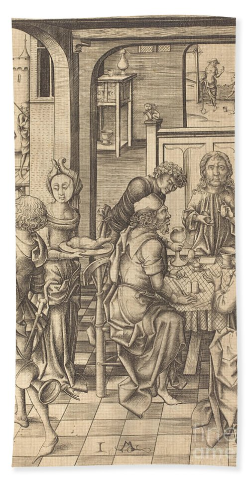 Hand Towel featuring the drawing Christ At Emmaus by Israhel Van Meckenem