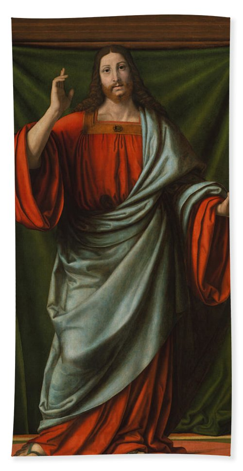 Christ Bath Sheet featuring the painting Christ Blessing by Andrea Solario