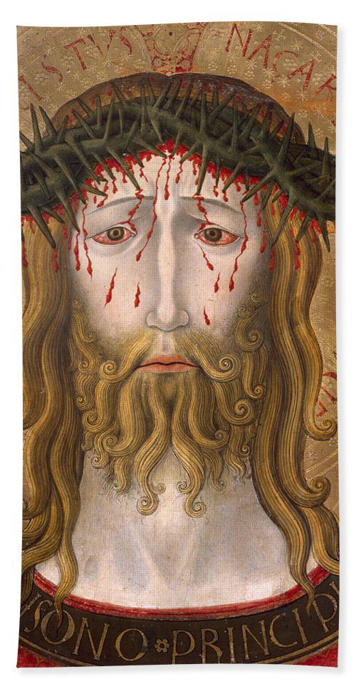 Icon Hand Towel featuring the painting Christ Crowned With Thorns by Benedetto Bonfigli