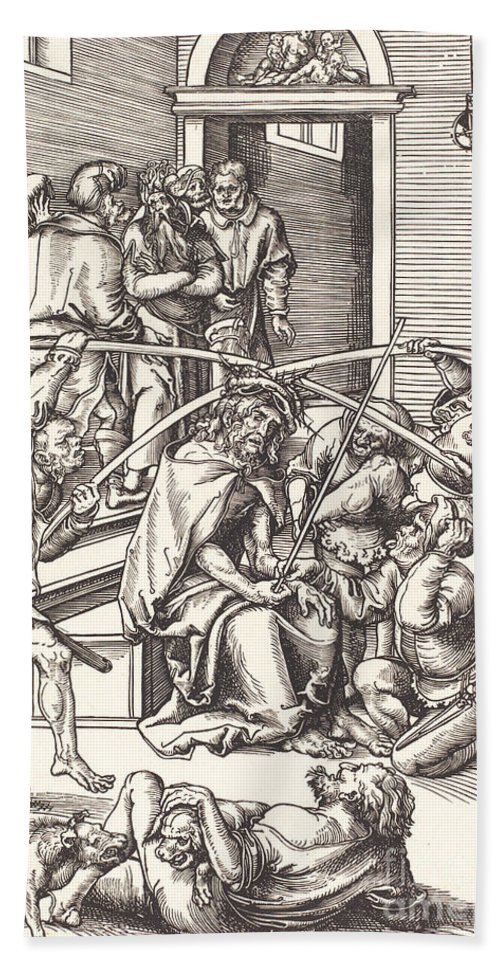 Hand Towel featuring the drawing Christ Crowned With Thorns by Lucas Cranach The Elder