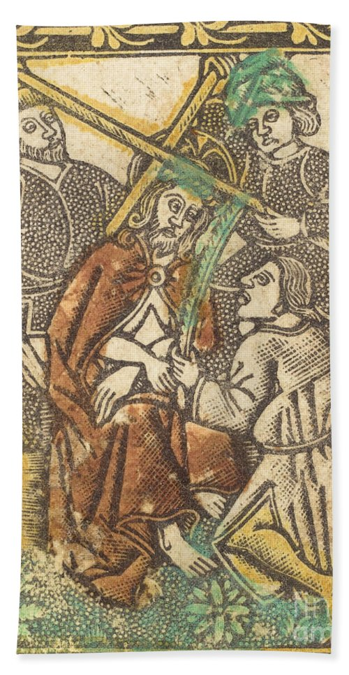 Hand Towel featuring the drawing Christ Crowned With Thorns by Workshop Of Master Of The Borders With The Four Fathers Of The Church