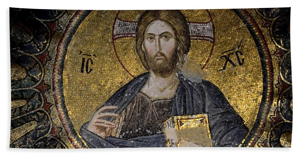 Christ Bath Sheet featuring the photograph Christ Holds Bible In Mosaic At Chora Church Istanbul Turkey by Imran Ahmed