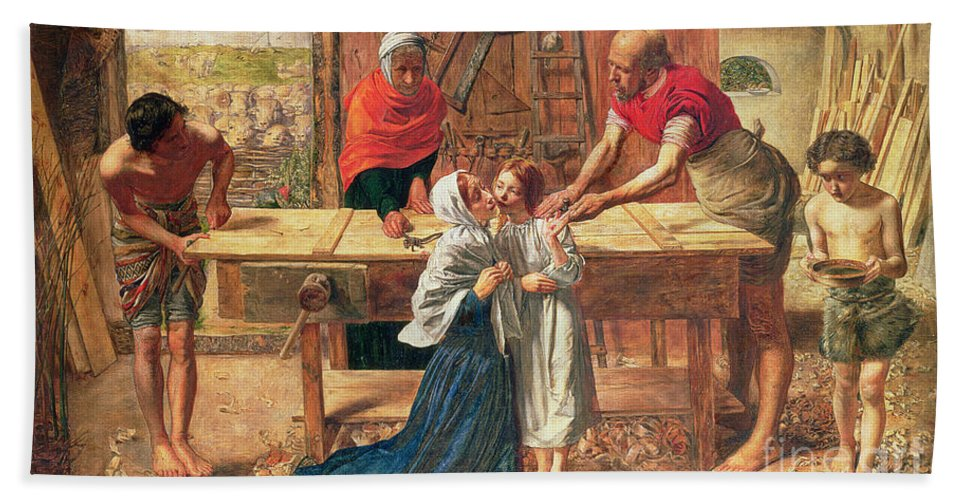 Christ In The House Of His Parents Hand Towel featuring the painting Christ In The House Of His Parents by JE Millais and Rebecca Solomon