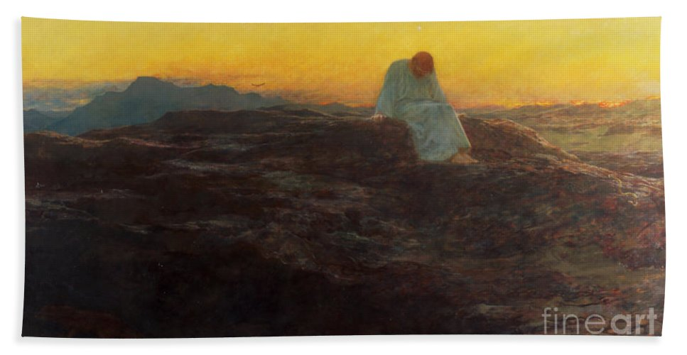 Christ In The Wilderness Hand Towel featuring the painting Christ In The Wilderness by Briton Riviere