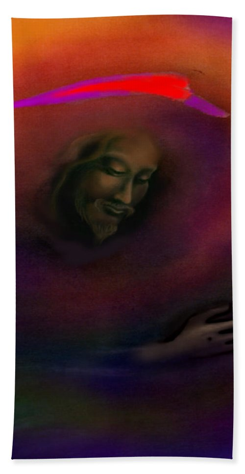 Jesus Hand Towel featuring the painting Christ by Kevin Middleton