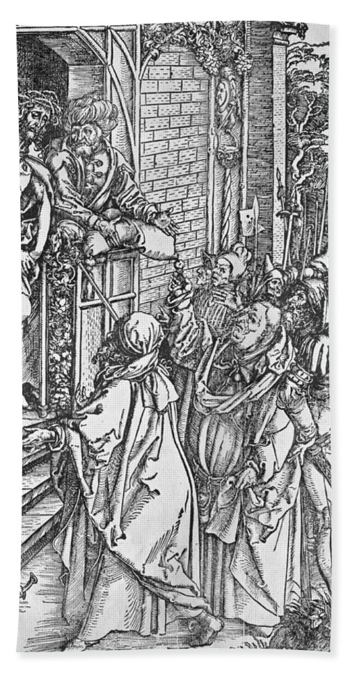 Ecce Homo Hand Towel featuring the drawing Christ Presented To The People by Albrecht Durer